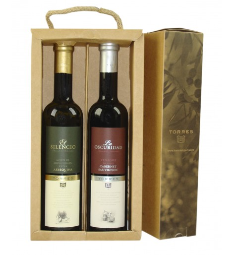 Pack de aceite de oliva virgen extra arbequina y vinagre cabernet sauvignon | 2 botellas de 50 cl