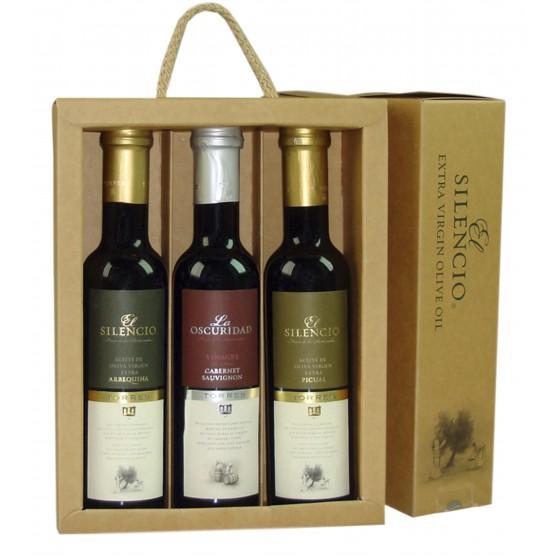 Pack de aceite de oliva virgen extra  arbequina, aceite de oliva virgen extra picual y vinagre de cabernet sauvingnon |  3 botellas de 25 cl