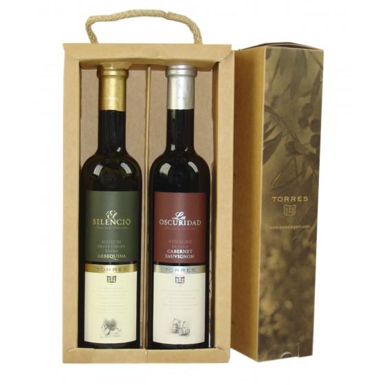 Pack de aceite de oliva virgen extra arbequina y vinagre cabernet sauvignon   2 botellas de 50 cl
