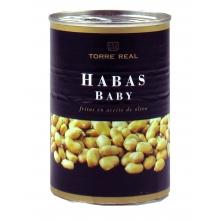 Habas baby fritas en aceite oliva 420 gr.