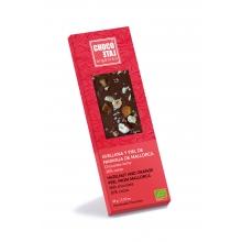 Chocolate con leche 36% cacao, avellana y piel de naranja de Mallorca BIO 50 gr
